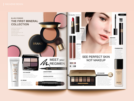 Ilustración de Cosmetic magazine template, cheek blush, eyeshadow and lipsticks products in 3d illustration - Imagen libre de derechos