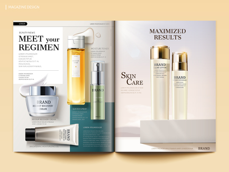 Ilustración de Cosmetic magazine template, skincare products with their texture isolated on geometric background in 3d illustration - Imagen libre de derechos