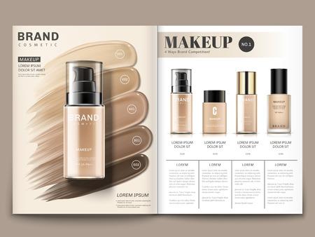 Ilustración de Cosmetic magazine template, foundation series with creamy texture in 3d illustration - Imagen libre de derechos