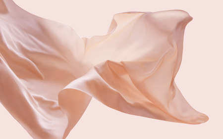 Illustration for Complexion floating fabric, romantic design elements in 3d illustration, silk and smooth texture - Royalty Free Image