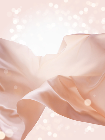 Illustration pour Pink floating fabric, romantic design elements in 3d illustration, silk and smooth texture on glitter background - image libre de droit