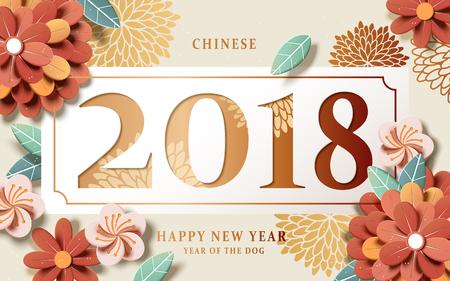 Ilustración de Chinese New Year design, graceful floral paper art style on beige background - Imagen libre de derechos