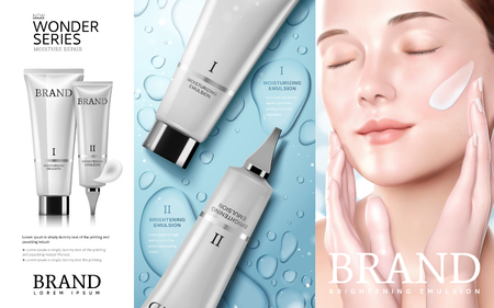 Illustration pour Skincare cosmetic ads, Moisture series tube with beautiful woman model, water drop background in 3d illustration - image libre de droit