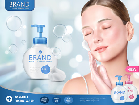 Illustration pour Facial wash ads, foaming face wash with attractive woman smearing foams on face, bokeh and glitter blue background in 3d illustration - image libre de droit