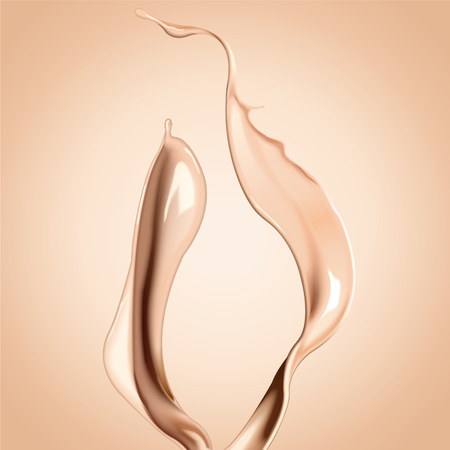 Ilustración de Foundation liquid elements, splashing complexion liquid in 3d illustration - Imagen libre de derechos