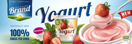 Illustration pour Strawberry yogurt ads, delicious yogurt commercial with a spoon of strawberry cream isolated on green field in 3d illustration - image libre de droit