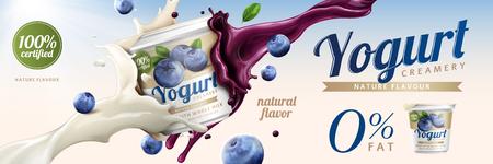 Illustration pour Blueberry yogurt ads, delicious yogurt commercial with milk and fruit jam splashing together in 3d illustration - image libre de droit
