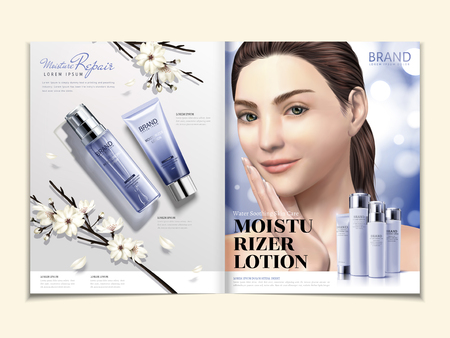 Illustration pour Cosmetic magazine template, moisturizer product set with elegant model in 3d illustration, white blooms and glitter background - image libre de droit