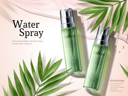 Illustration pour Water spray ads, green spray bottles with palm leaves elements in 3d illustration - image libre de droit