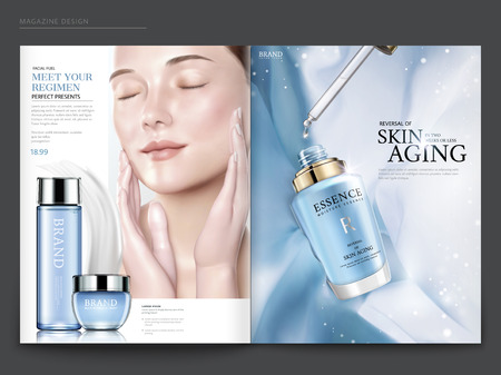 Illustration pour Cosmetic magazine template, elegant model with droplet bottle isolated on light blue chiffon background, in 3d illustration - image libre de droit