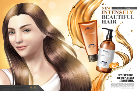 Ilustración de Hair care product ads, elegant hair model with splashing oil and products in 3d illustration - Imagen libre de derechos