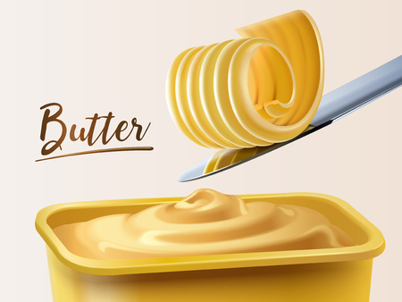Illustration pour Creamy butter container, curl butter on knife in 3d illustration - image libre de droit