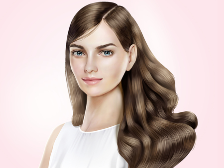 Illustrazione per Attractive hair model, beautiful woman with shiny long hair in 3d illustration, pink background - Immagini Royalty Free