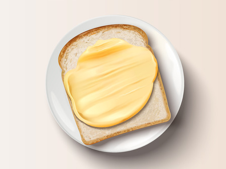 Ilustración de Butter spreading on bread, top view of delicious toast in 3d illustration - Imagen libre de derechos