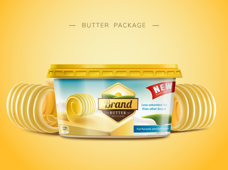 Illustration pour Creamy butter package design, curl butter elements in 3d illustration - image libre de droit