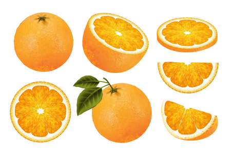 Illustration pour Fresh orange fruit set, juicy orange isolated on white background in 3d illustration - image libre de droit