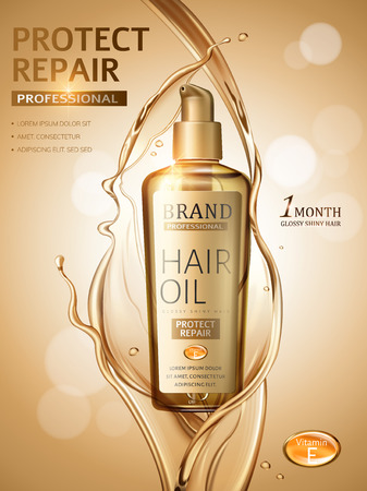 Ilustración de Hair oil ads, splashing liquid and pump bottle in 3d illustration, golden glitter bokeh background - Imagen libre de derechos