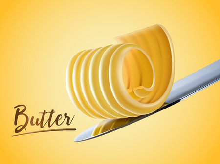 Illustration pour Creamy butter element, curl butter on knife in 3d illustration - image libre de droit