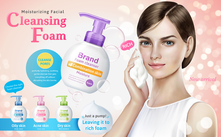 Illustration pour Cleansing foam ads, attractive model with cleansing foam products and bubbles elements in 3d illustration, bokeh glitter pink background - image libre de droit