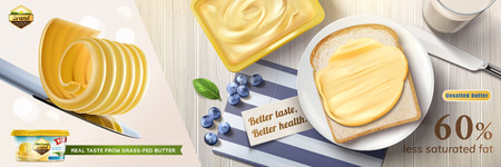 Illustration pour Creamy butter ads, butter curls on knife with some spreading on toast in 3d illustration, top view of delicious breakfast - image libre de droit