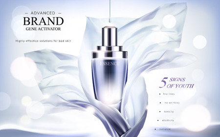 Illustration pour Essence product ads, droplet bottle with flying chiffon element in 3d illustration, glittering bokeh background - image libre de droit