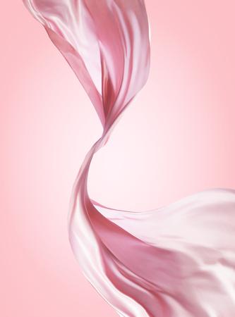 Ilustración de Pink chiffon design, flying fabric in 3d illustration on pink background - Imagen libre de derechos
