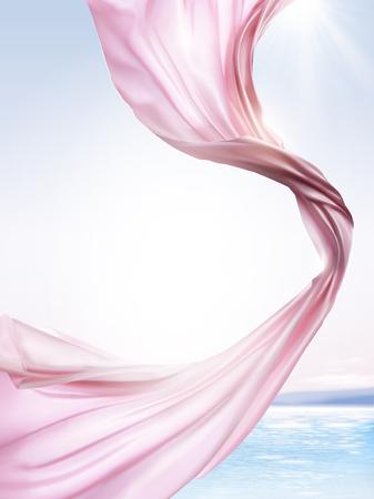 Ilustración de Pink chiffon elements, flying cloth on ocean background in 3d illustration - Imagen libre de derechos