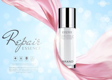 Ilustración de Elegant essence ads, skincare container with flying chiffon isolated on glittering blue background in 3d illustration - Imagen libre de derechos