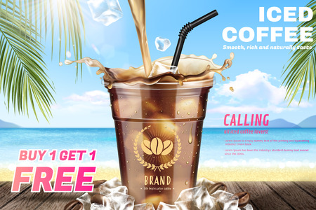 Illustration for Iced coffee pouring down into a takeaway cup on attractive resort background in 3d illustration - Royalty Free Image
