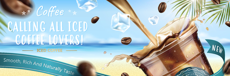 Illustration pour Iced coffee pouring down into a takeaway cup with flying coffee beans on blurry resort background in 3d illustration - image libre de droit