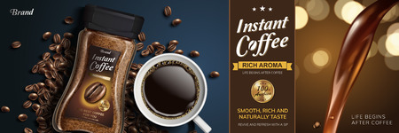 Illustration pour Instant coffee with liquid pouring down and top view of black coffee and beans, 3d illustration - image libre de droit
