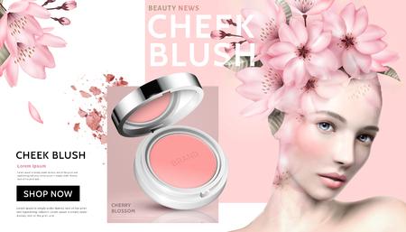 Illustration pour Romantic cheek blush with beautiful woman wearing floral head decoration in 3d illustration - image libre de droit
