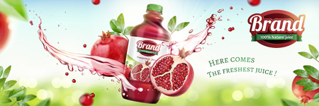Illustration pour Pomegranates bottled juice ads with splashing liquid on natural bokeh background in 3d illustration - image libre de droit