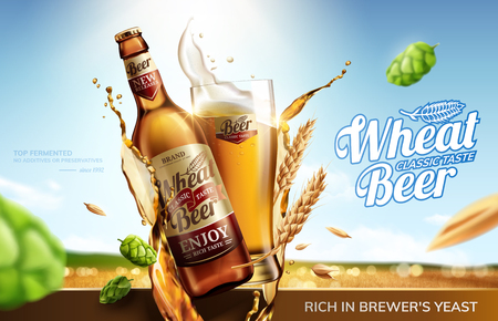 Ilustración de Wheat beer ads with flying ingredients and liquid on bokeh golden wheat field background in 3d illustration - Imagen libre de derechos