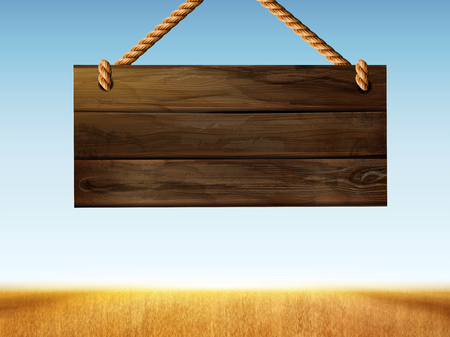 Illustration for Retro hanging wood sign on bokeh wheat field in 3d illustration - Royalty Free Image