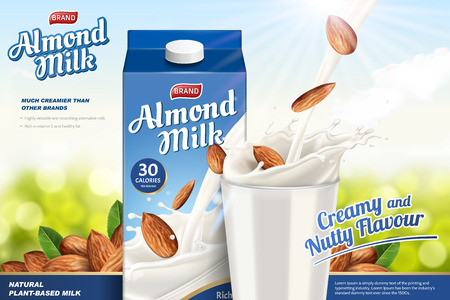 Ilustración de Almond milk ads with liquid pouring down into glass cup on the green glitter background, paper carton package in 3d illustration - Imagen libre de derechos