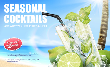 Illustration pour Seasonal cocktail mojito drinks with refreshing fruit on bokeh beach background, 3d illustration - image libre de droit