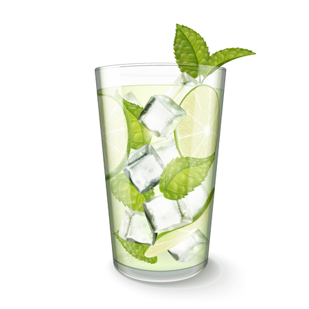 Ilustración de Mojito drink in glass cup on white background in 3d illustration - Imagen libre de derechos