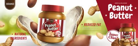 Ilustración de Peanut butter spread appeared from nut pod in 3d illustration, bokeh background - Imagen libre de derechos