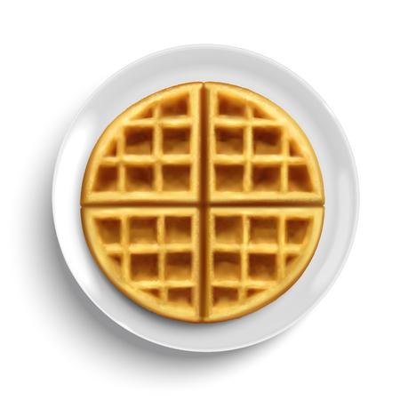 Ilustración de Belgian waffle design element on white plate in 3d illustration, top view - Imagen libre de derechos