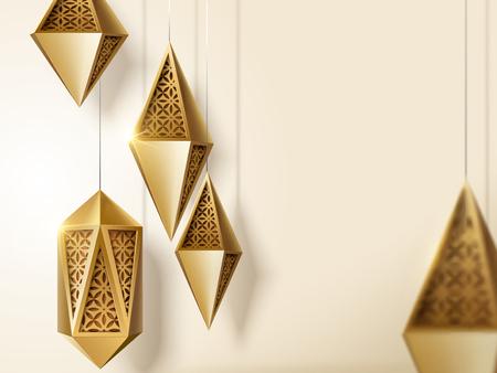 Ilustración de Islamic festival design with golden carved lanterns with copy space in 3d illustration - Imagen libre de derechos