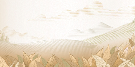 Illustration for Tea plantation background in engraving style for design uses - Royalty Free Image