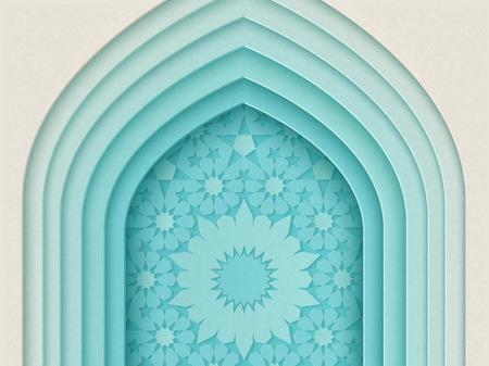 Illustration pour Islamic festival design with multi layers arch background in paper style, 3d illustration - image libre de droit