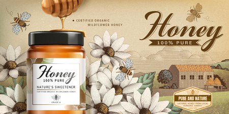 Illustration pour Wildflower honey product in 3d illustration on engraved country side scenery - image libre de droit