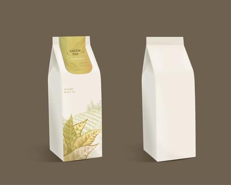 Ilustración de Green tea leaves package design with blank paper bag in 3d illustration - Imagen libre de derechos