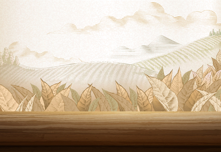 Illustration for Tea plantation background in engraving style with 3d illustration wooden table - Royalty Free Image