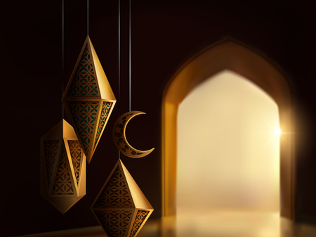 Illustration pour Islamic festival design with carved lanterns on bokeh arch interior baround, 3d illustration - image libre de droit
