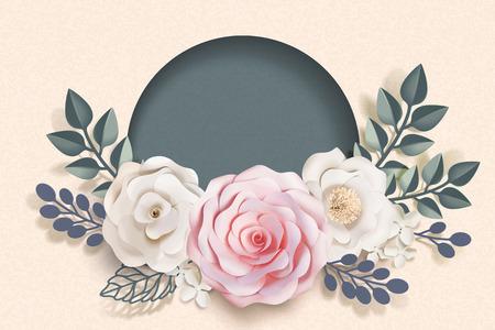 Ilustración de Blank romantic floral paper art frame in 3d illustration - Imagen libre de derechos