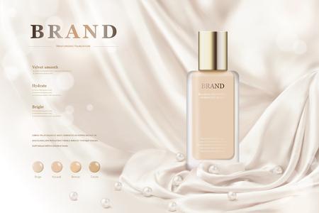 Ilustración de Foundation ads with smooth drapery background in 3d illustration - Imagen libre de derechos