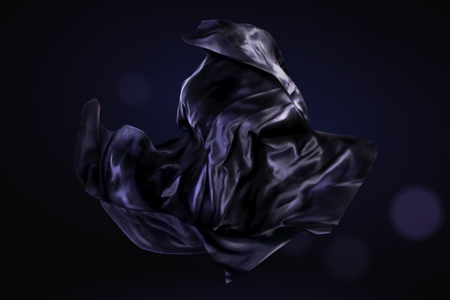 Ilustración de Dark purple satin design element on glitter background, 3d illustration - Imagen libre de derechos